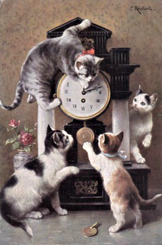 Kittens Playing on a Clock Carl Reichert Private Collection