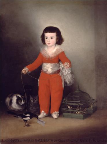 Don Manuel Osorio Manrique de Zuniga Oil on Canvas 1788 Francisco Goya, cats in art