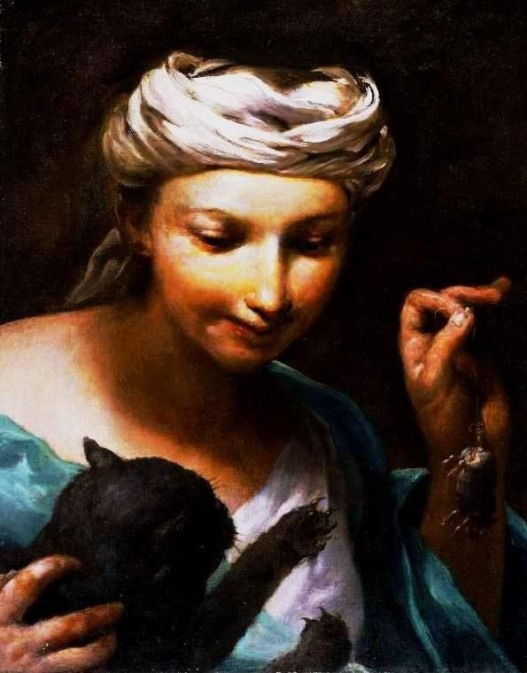 Girl with a Cat G. Crespi (1665-1747) Perronneau, Crespi, Desportes