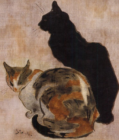 Two Cats cats in art, Theophile Steinlen cats