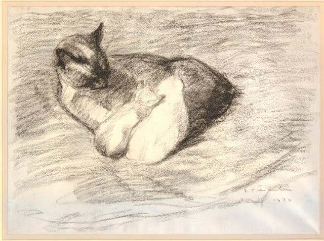 Nursing Time 1920 cats in paintings Steinlen