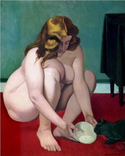 Felix Vallotton Naked Woman Feeding Cat