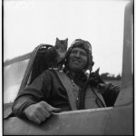 Pilot with Feline Mascot . A fighter pilot poses with his mascot in the cockpit, ca. 1945, cats in WWII