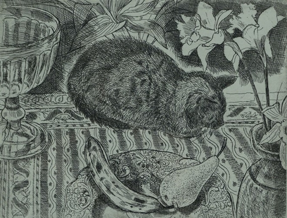 Cat and Fruit, Richard Bawden