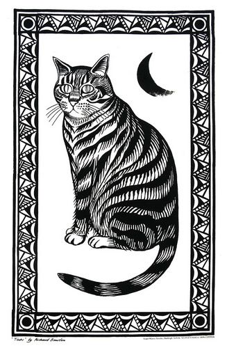 Cat and moon teatowel by Richard Bawden