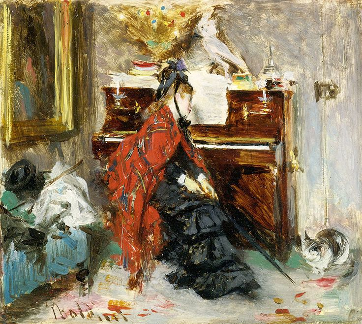 Giovanni Boldini, Woman at the piano (with a cat)