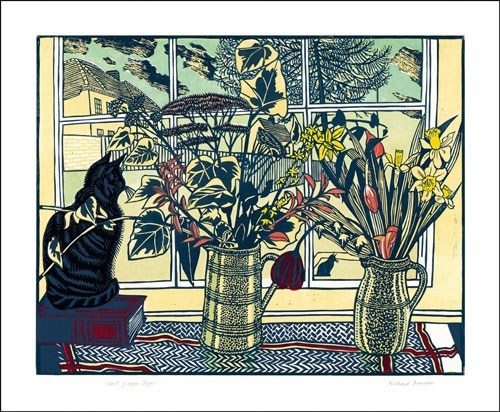 Saltglaze Jugs (and a tabby cat) Linocut Richard Bawden