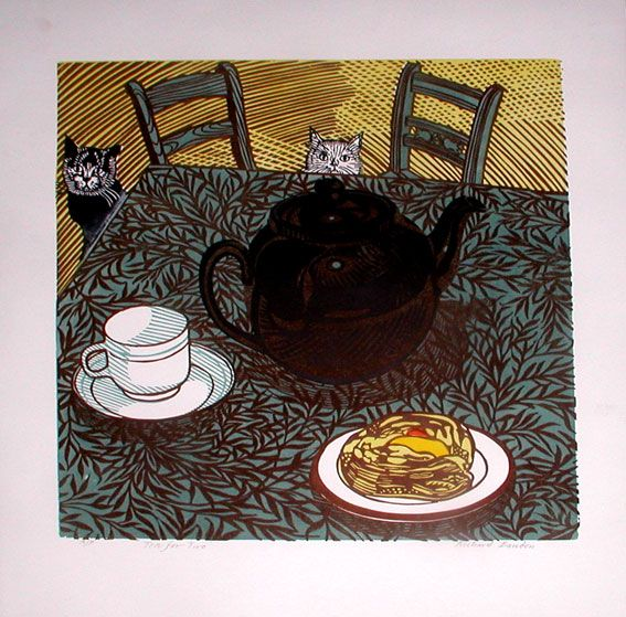 Tea for Two (Cats) linocut print Richard Bawden