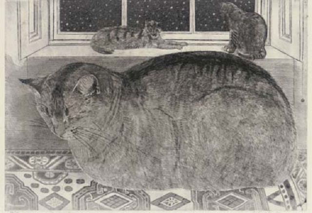 The Snowstorm  etching, Richard Bawden