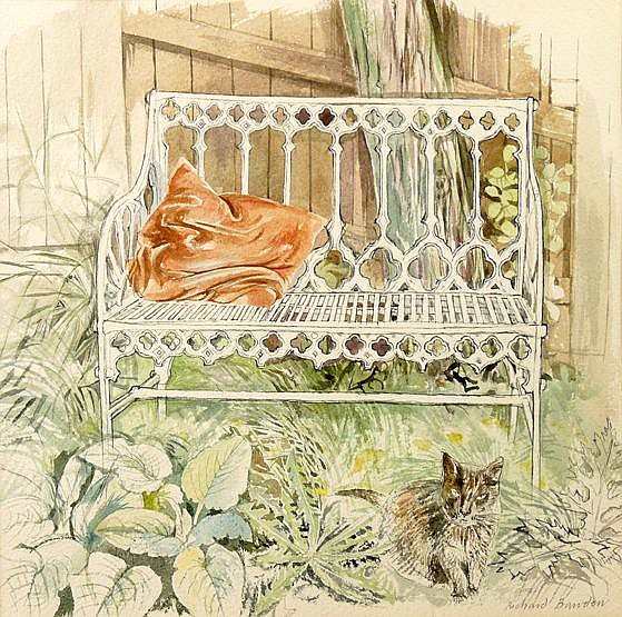 Victorian Garden Seat with Cat, Richard Bawden