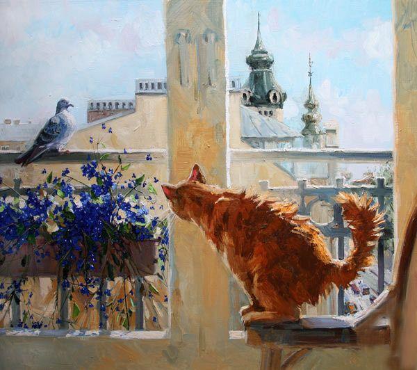 Bird! Maria Pavlova cats in art