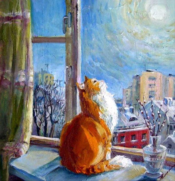 Cat and Moon, Maria Pavlova