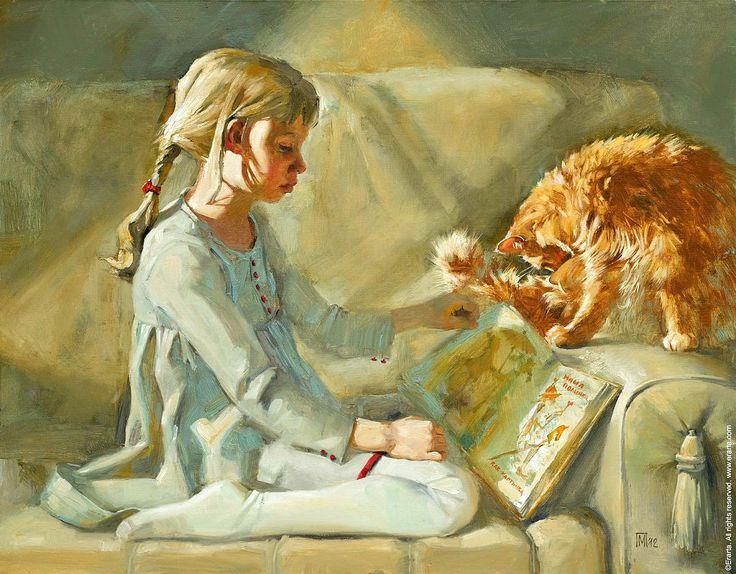 Girl and Cat, Maria Pavlova