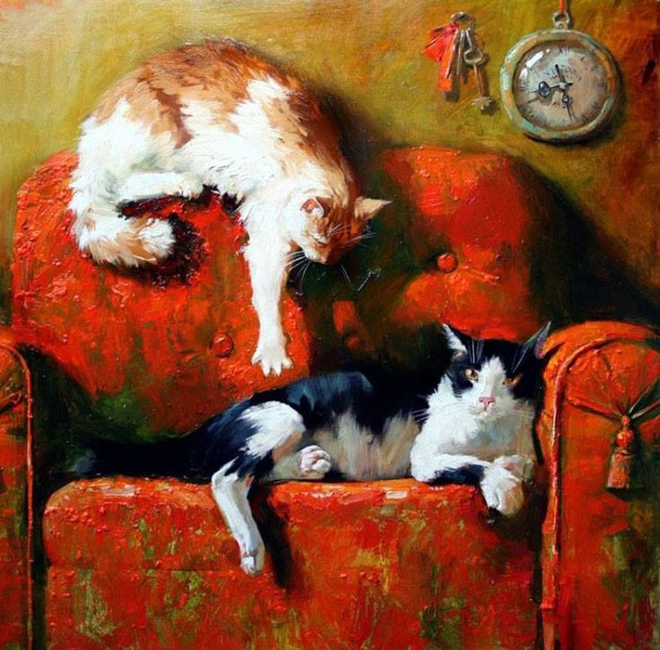 Two Cats on a Chair, Maria Pavlova