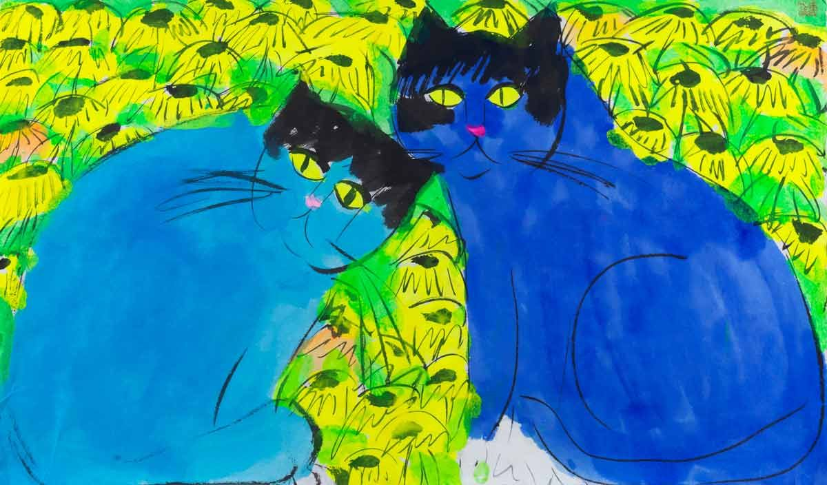 Walasse Ting, Two Blue Cats