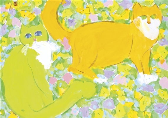Walasse Ting, Two Cats and Yellow Flowers
