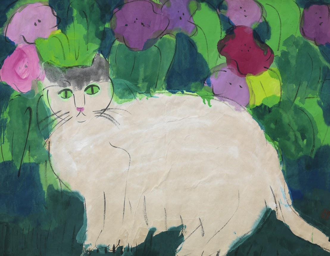Walasse Ting, White Cat and Flowers