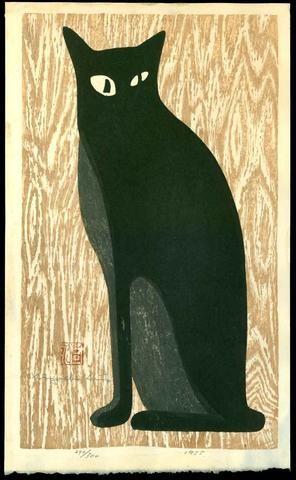 Kiyoshi Saito, Black Cat with Beige Background