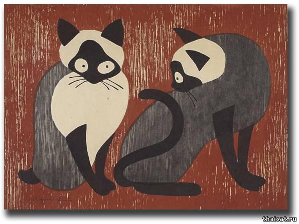 Kiyoshi Saito, Two Black and White Cats