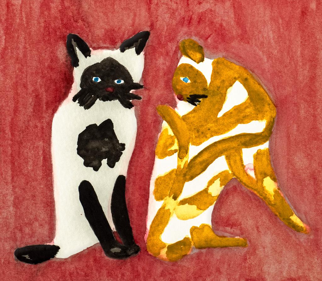 Kiyoshi Saito, Two Colorful Cats