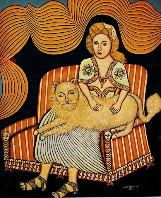 Morris Hirschfield, Girl with Angora Cat, 1944.