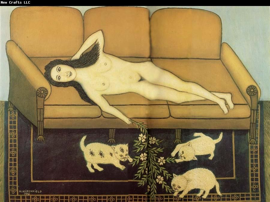 Nude on Sofa with Three Pussies, Morris Hirshfield