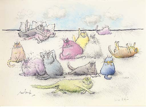 Cats Relaxing, Ronald Searle