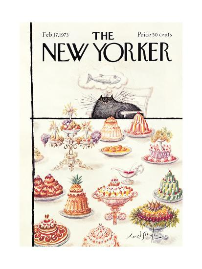 New Yorker Cover, Feb 1973, Ronald Searle