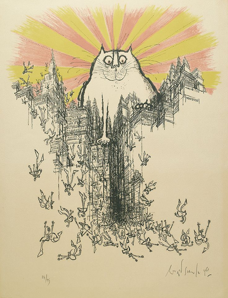The Coming of the Great Cat God, 1968, Ronald Searle