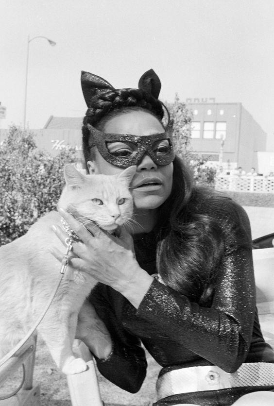 Eartha Kitt as Cat Woman with Orange Cat Star