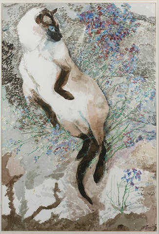 Charles Frederick Tunnicliffe (1901-1979) Siamese in cat mint