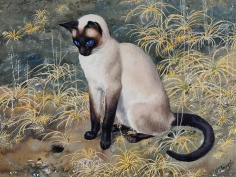 Charles Frederick Tunnicliffe, Siamese Cat Among the Grasses