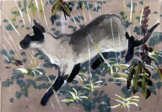 Siamese Cat in Autumn, Charles F. Tunnicliffe