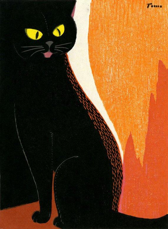 Black Cat with Orange Background, Inagaki Tomoo