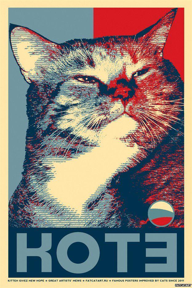 Fat Cat based on Shepard Fairey's Hope, Svetlana Petrova