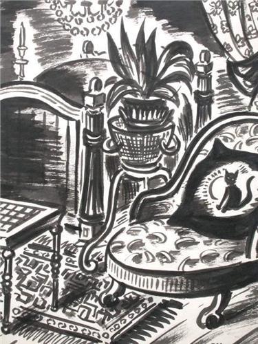 Frans Masereel, Cat on Cushion