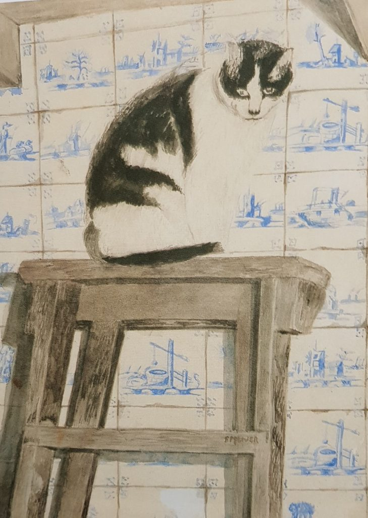 Cat with Dutch Tiles, Sal Meijer