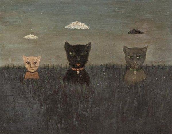 Three Cats with Clouds overhead, Abercrombie