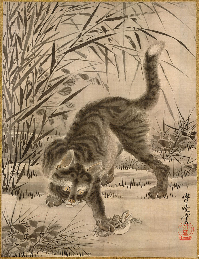 Cat Catching a Frog, Kawanabe Kyosai