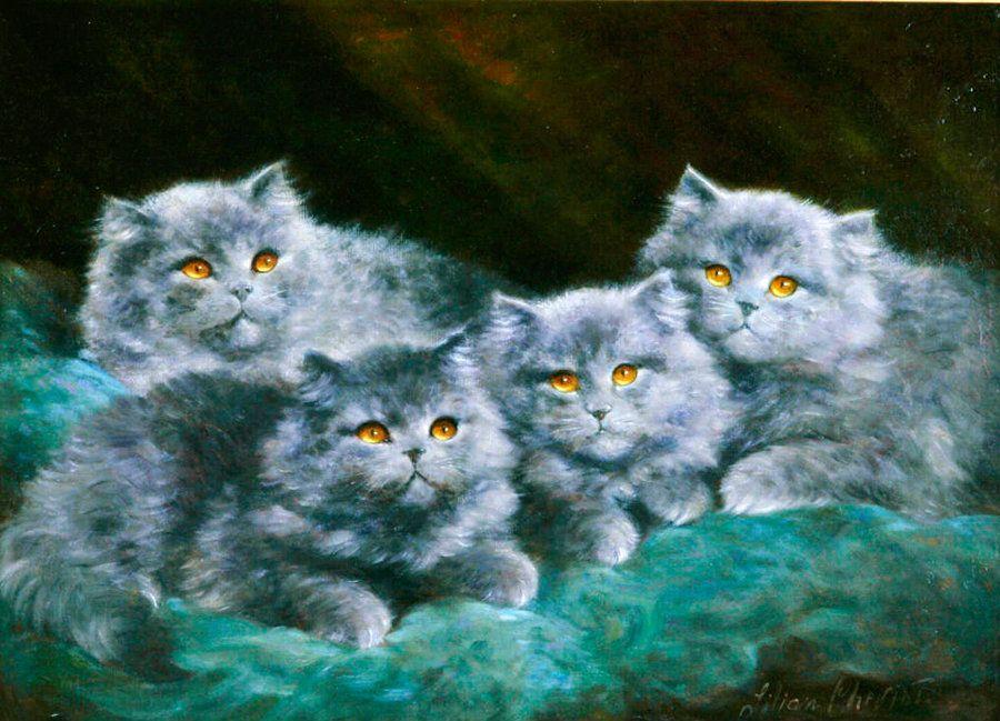 Four Grey Persian Kittens, Lilian Cheviot