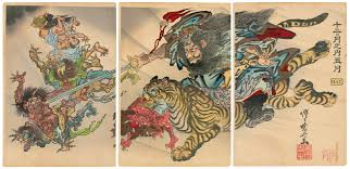 Shoki the Demon Queller riding a tiger, subjugating Demons