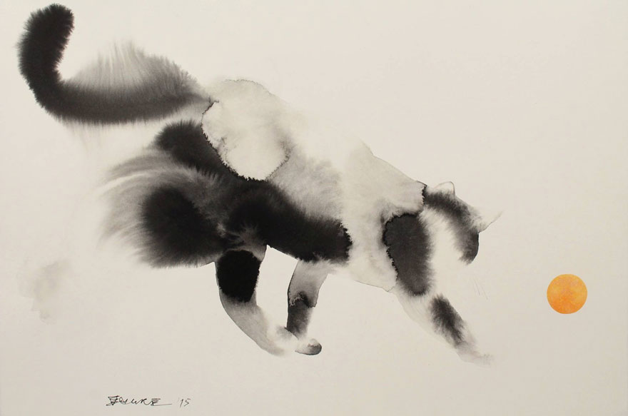 Endre Penovac, Black and White Cat with Orange Ball