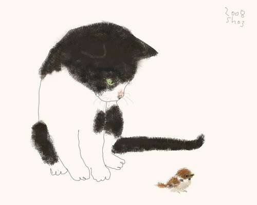 Tuxedo Cat and Bird