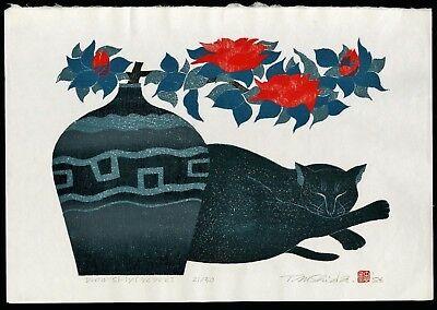 Black cat with flowers, Nishida Tadashige