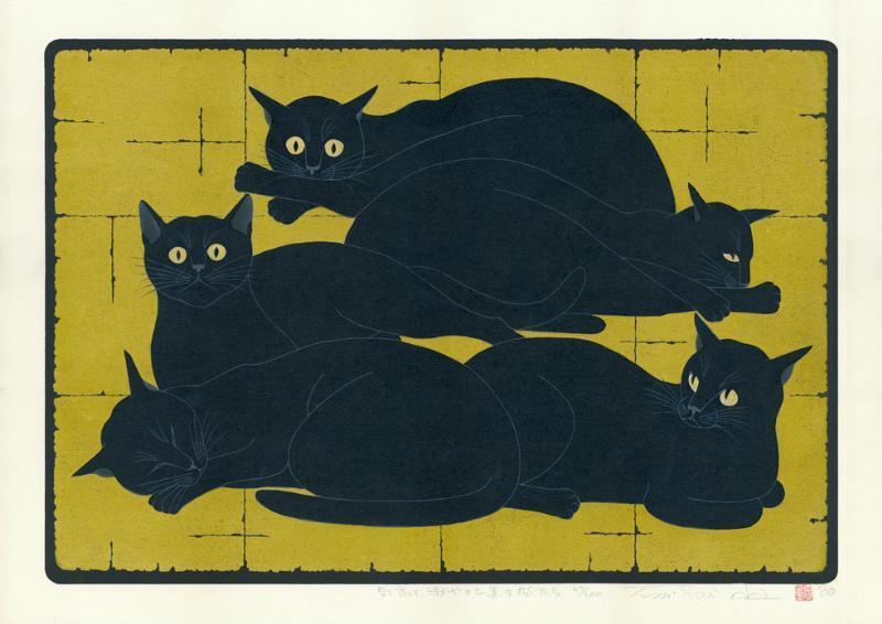 Clowder of black cats, Nishida Tadashige
