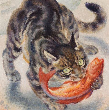 Fischende Katze, 1962 Norbertine Bresslern Roth