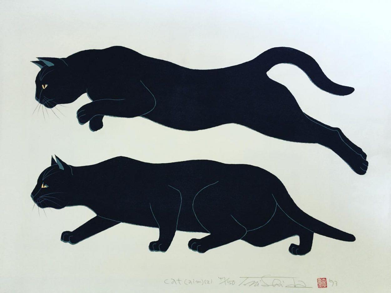 Two slinking cats, Nishida Tadashige