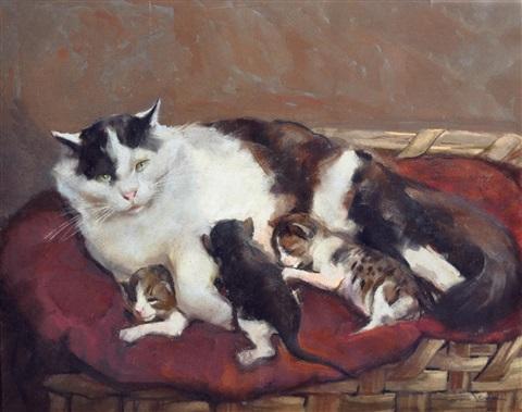 Marino Lenci, Cat and Kittens