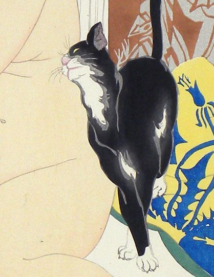 Detail, Black Cat with Nude, Toraji Ishikawa