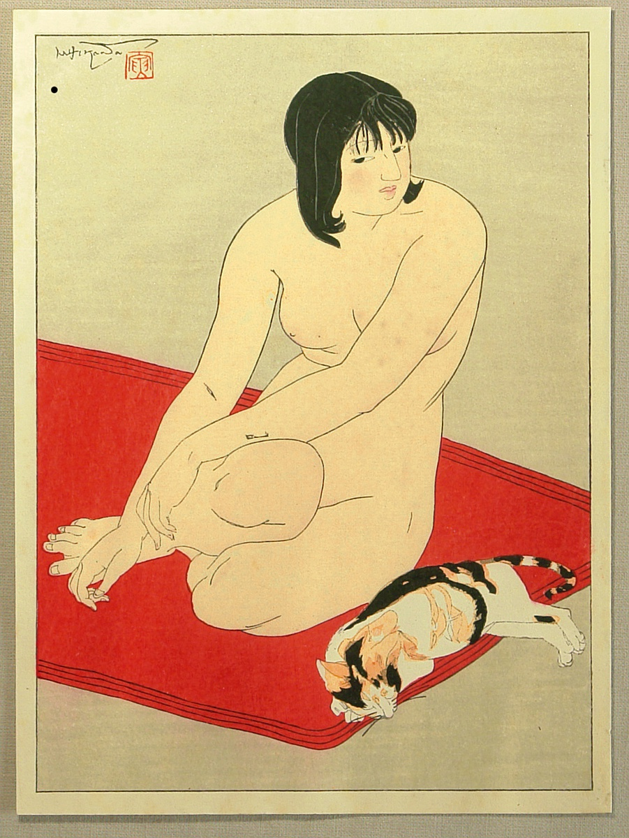 Toraji Ishikawa, Woman Resting with a Cat